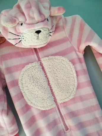 Pajac polarowy pizama kot w paski next 110cm 4-5lat