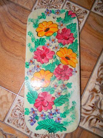 Deseczka do kuchni malowane kwiaty do zawieszenia PRL
