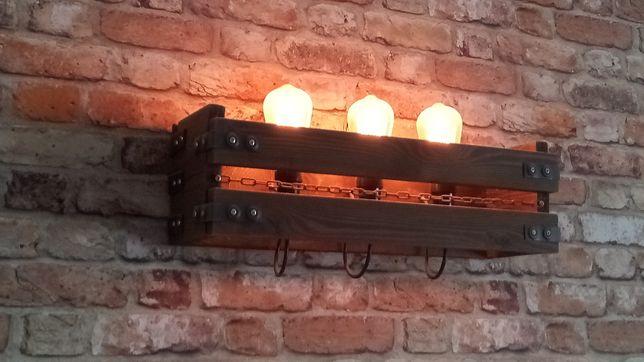 Lampa kinkiet handmade drewno metal rustykalna loft
