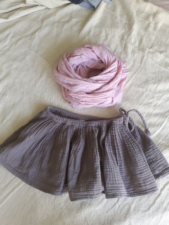 Spódniczka numero 74 lniany sweterek hm 2-4 lata
