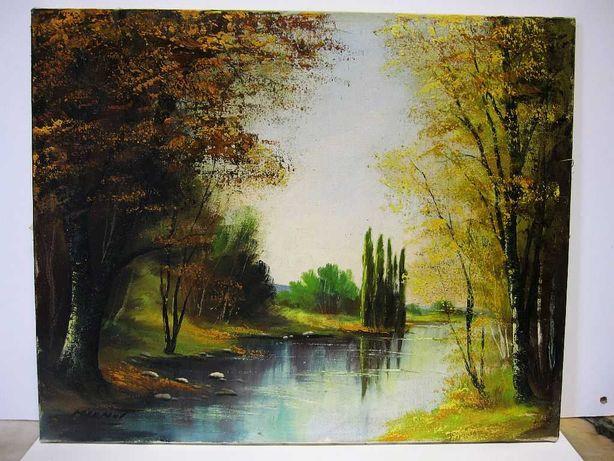 antiga pintura em õleo sobre tela - paisagem fluvial - assinada