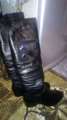 Продам новые кожаные зимние  сапоги