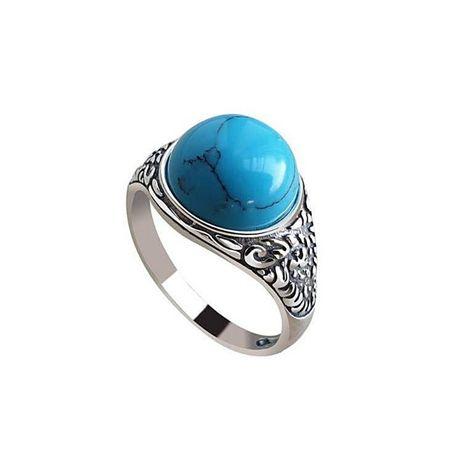 Pierścionek z błękitnym kamieniem turkus srebro pr 925