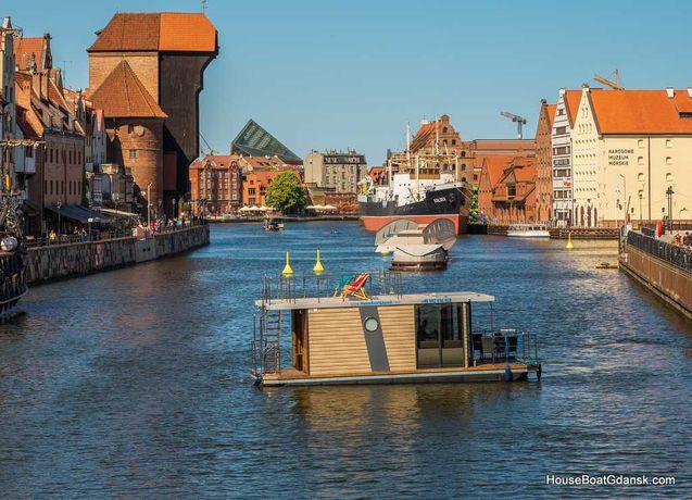 Dom na wodzie HouseBoat Gdańsk, Domek nad morzem, pływający, nocleg