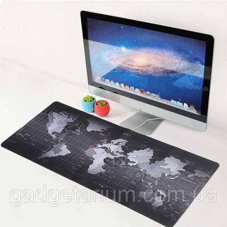 Игровая поверхность, коврик 790*300 КАРТА МИРА BLACK коврик для мыши