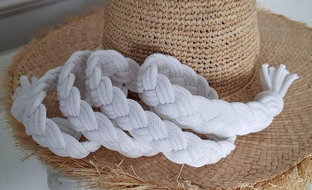Nowy bawełnany pasek boho biały