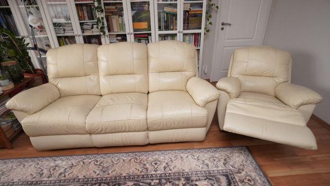 Komplet wypoczynkowy skórzany 3+1 (trzyosobowa sofa i fotel)