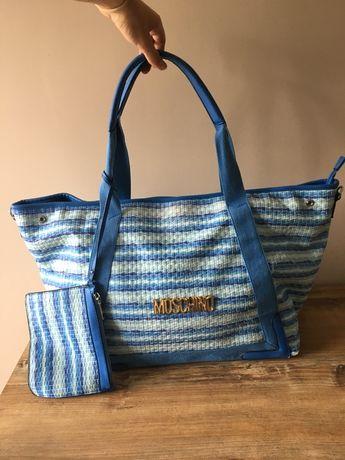 Duża pojemna torebka niebieska biała