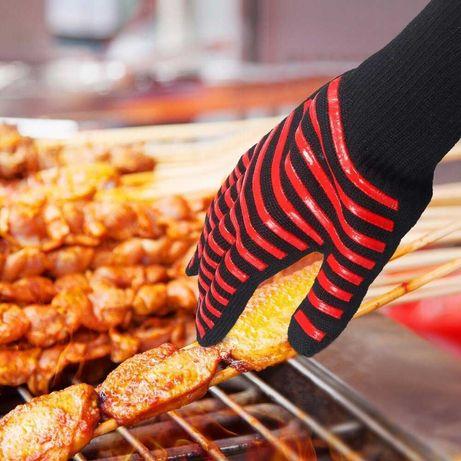 Luvas de aramida para churrasco/barbecue, 1 par, preto-vermelho