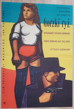 Gorzki ryż, Maciej Hibner, plakat filmowy z 1958, stan BDB, RARE,