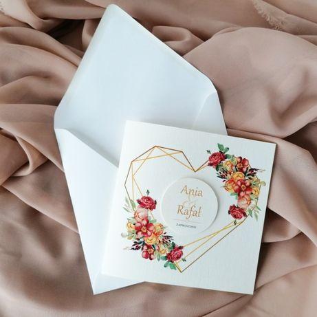 Zaproszenie na ślub kolory jesieni SERCE GEOMETRIC