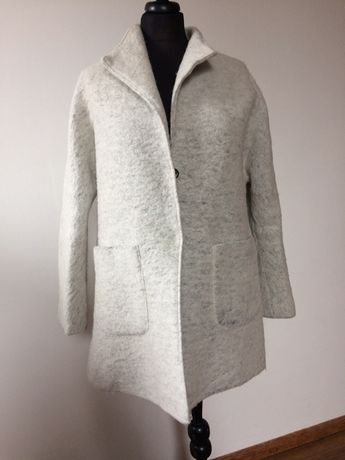 Płaszcz wełniany szary popiel oversize jesienny lekki alpaka