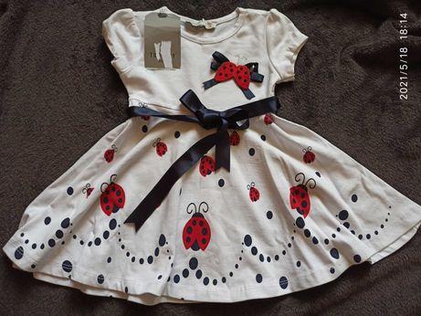 Платье хлопковое новое летнее для девочки 6 месяцев