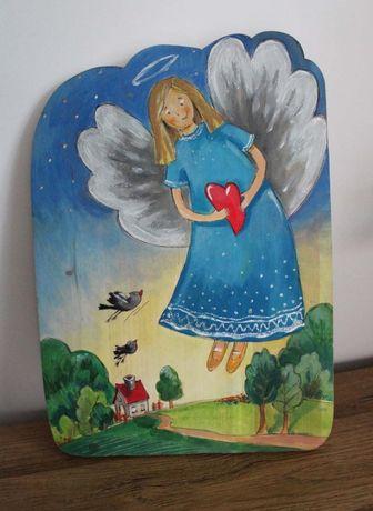 Obrazek _ Aniołek malowany na drewnie do pokoju dziecka