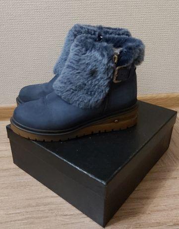 Зимние синие ботинки