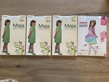 Rajstopy NOWE 4szt białe cienkie gładkie dla dziewczynki 128-134
