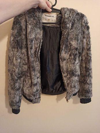 Szare futerko futro kożuszek na wiosnę bluza wiosenna