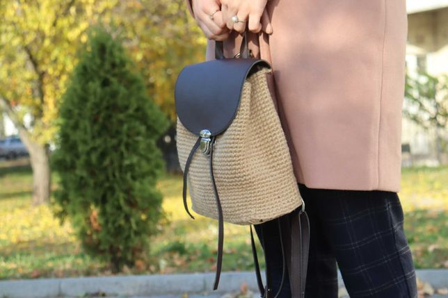 Рюкзак из джута и кожи
