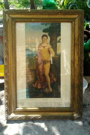 Картина исскуство антиквариат реставрация рама со стеклом Юдифь Юдьфь