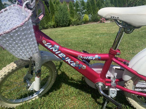 Rower 16'' Unibike Daisy + kólka boczne i drąg do nauki jazdy