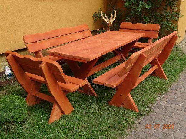 Meble ogrodowe stół i cztery ławki