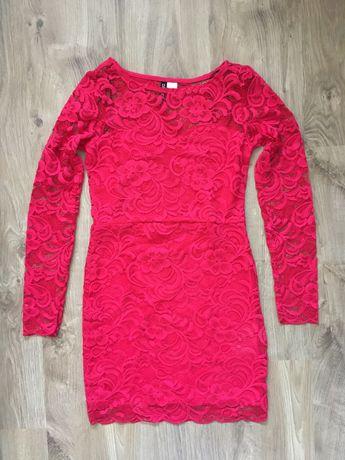 Sukienka H&M kolor różany meksykański czerwień  r36