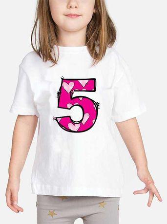 Dziecięca Koszulka Urodzinowa z nadrukiem cyfry 5 Lat  (110-116) NOWA