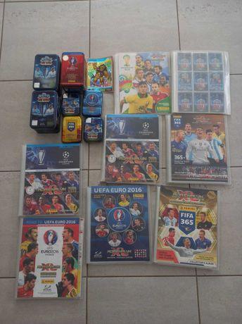 Ogromny zestaw kart piłkarskich Panini topps po synku. Puszki i albumy