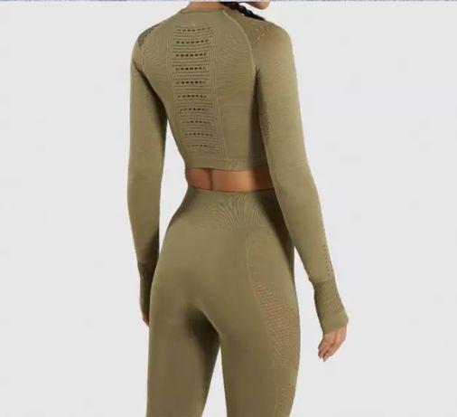 Zestaw set khaki na siłownie legginsy top rashguard XS S