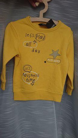 George 86-92 nowa bluza dresowa z napisami żółta