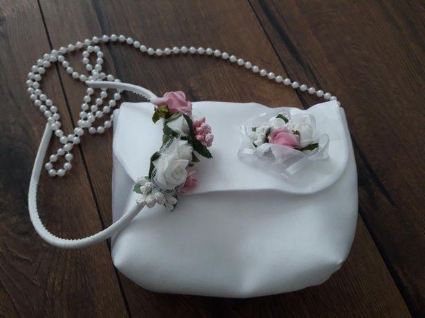 Komunia zestaw komplet opaska i torebka