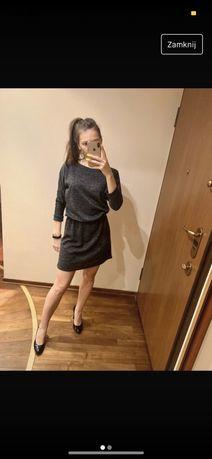 sukienka sweterkowa tunika ze srebrną nitką