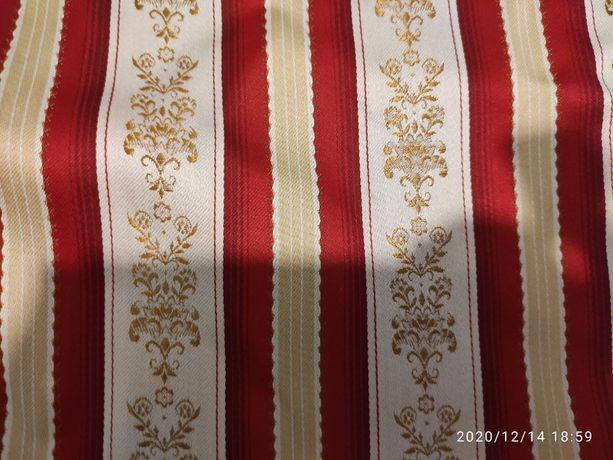 tkanina materiał żakard tkany obicie złoty czerwony poszewki zasłony