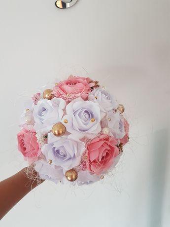 PROMOCJA!!! Bukiet komunijny/ślubny ręcznie robione kwiaty