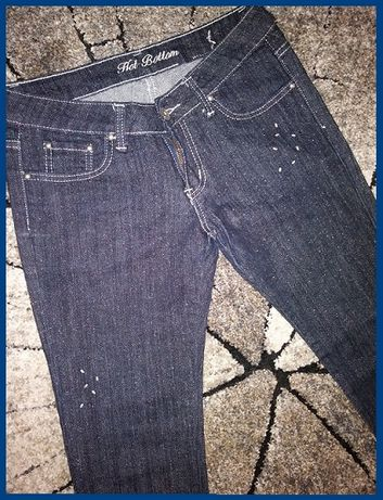 NOWE jeansy 38 M spodnie z brokatem koralikami wygodne zdobione C&A