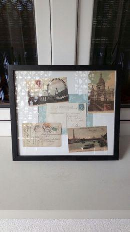 Obraz Paris stare kartki pocztówki Paryż poster