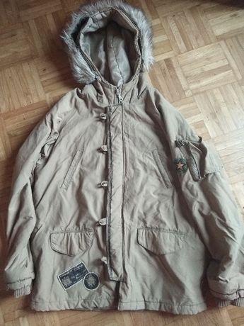 brązowa kurta zimowa z futrzakiem na kapturze - 170cm