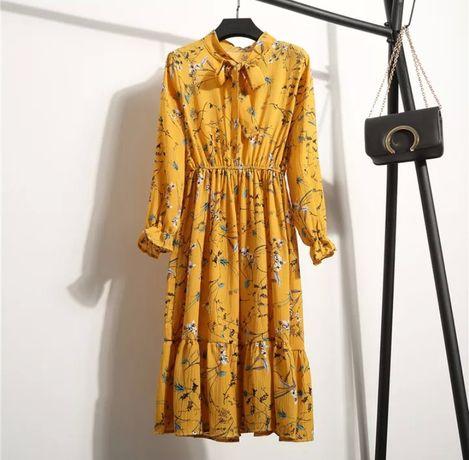 Шифоновое платье цветы желтое горчичное завышенная талия плаття квіти