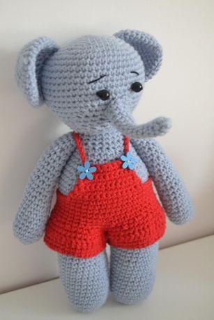 Игрушка вязаная слон слоник