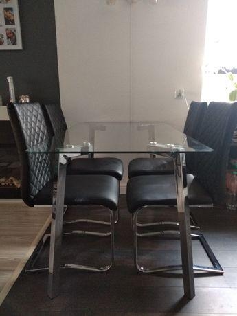 Stół szklany wraz z krzesłami