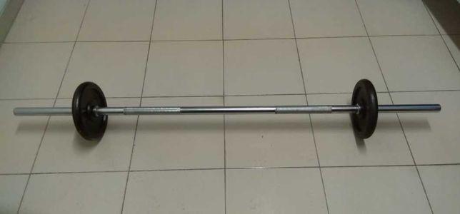 Barra Ginásio com 150CM de comprimento e 3 de Diâmetro + Discos