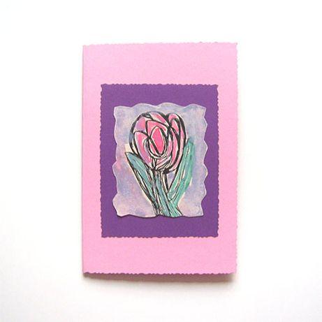 ładna kartka kwiat, kartka różowa, ręcznie robiona kartka pastelowa