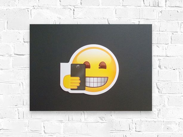 plakat dla chłopca, emotki grafika na scianę, czarno zółty plakat a3