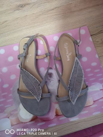 CCC. Szare buty sandały japonki 39