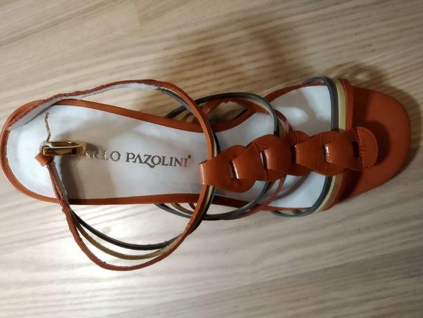 CARLO PAZOLINI Новые кожаные красные босоножки 37 размер