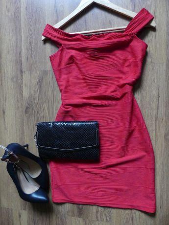 bandażowa sukienka czerwona 40