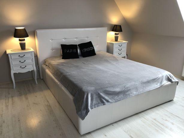 Łóżko białe tapicerowane 160x200 cm
