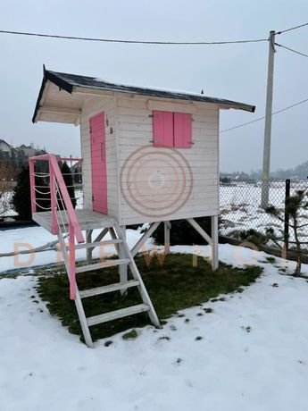 Domek dla dzieci, domek drewniany, plac zabaw , zjeżdżalnia