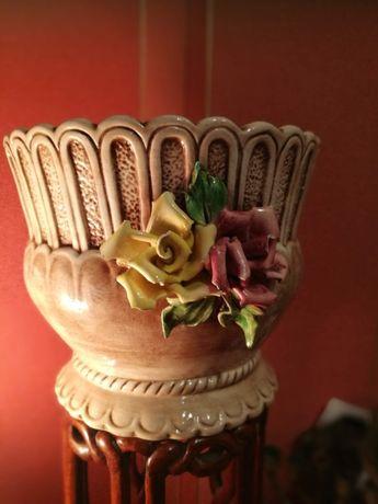 Prezent dla Babci Porcelana sygnowana zdobiona donica-Tanio!