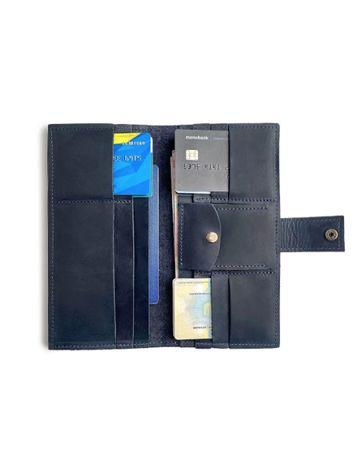Женский кожаный кошелек ручной работы delaу 20х10 цвета синий. d-100